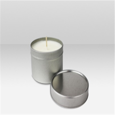 Women's Round Silver Tin Candle in Organza Bag
